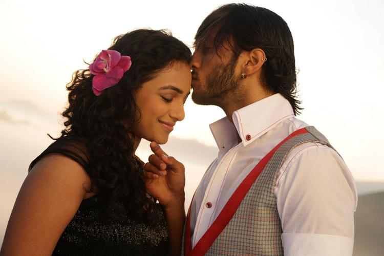 Chetan Kisses Nithya Forehead Nice Still From Mynaa Kannada Movie