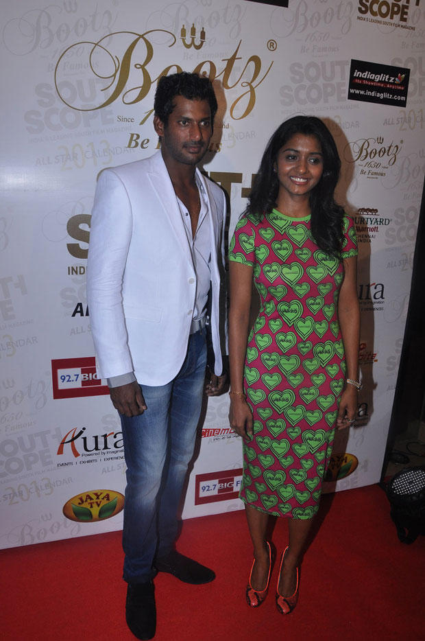 Vishal Krishna Posed With A Friend At South Scope Calendar Launch 2013