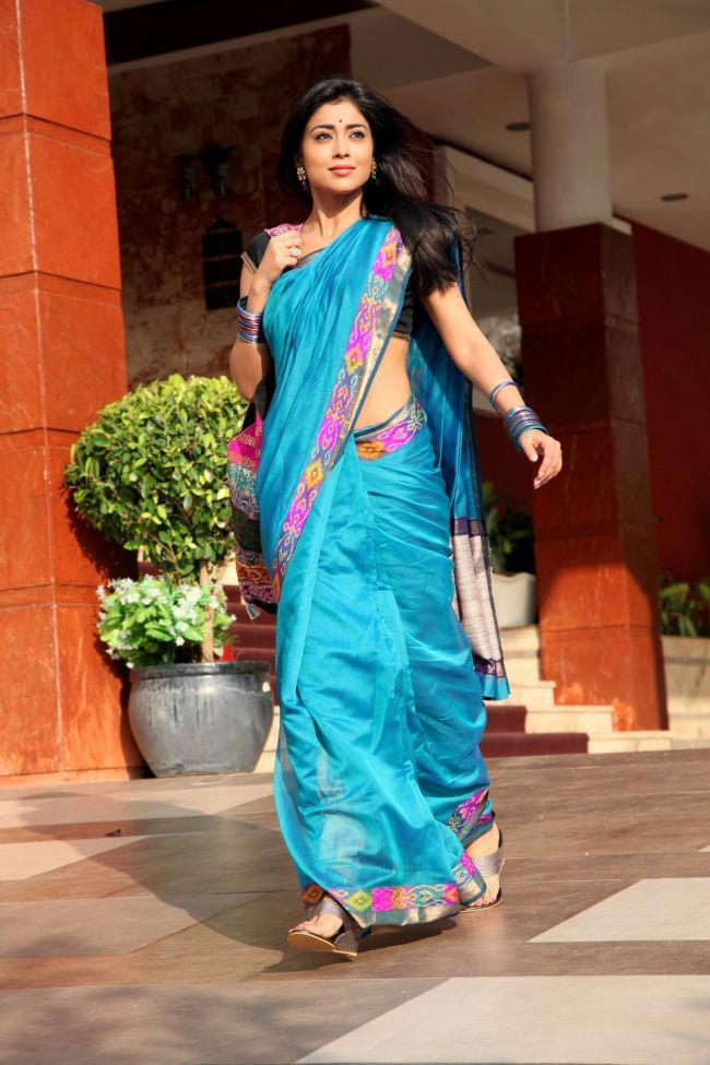 Shriya Walking Photo Still In Saree In Movie Pavitra