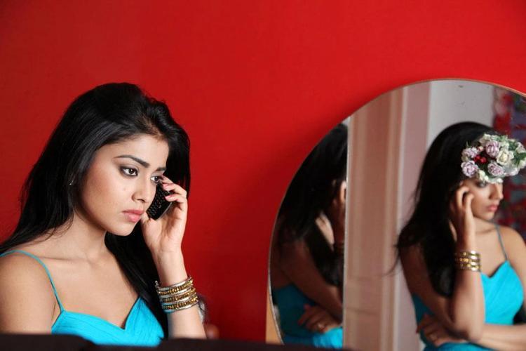Shriya Saran Talking In Mobile Photo Still From Movie Pavitra