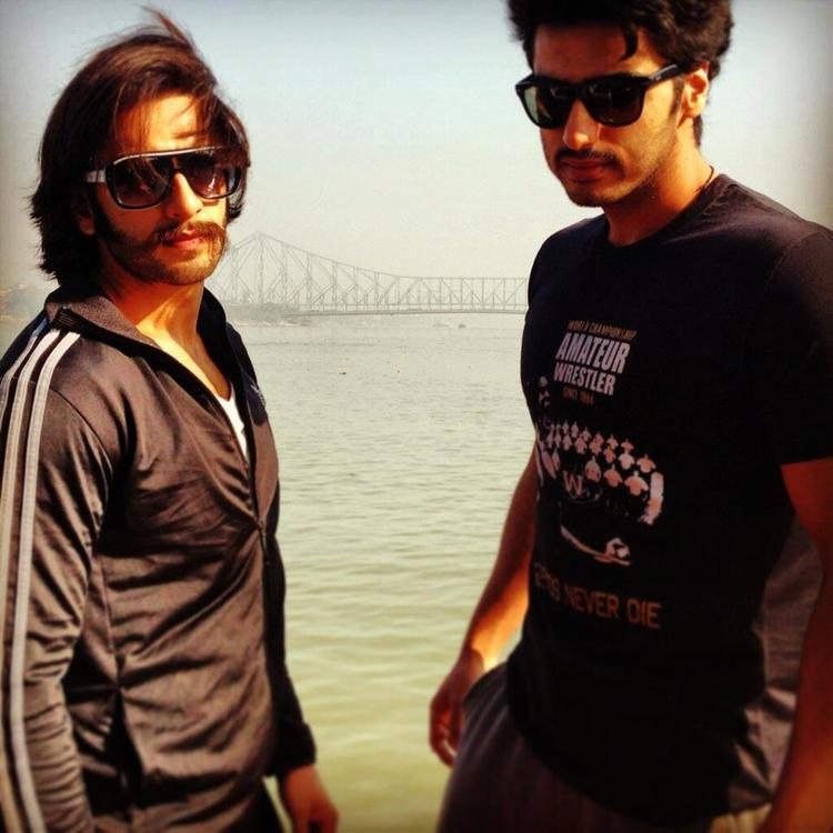 Ranveer And Arjun Dabang Look Pose For Camera On The Sets Of Film Gunday