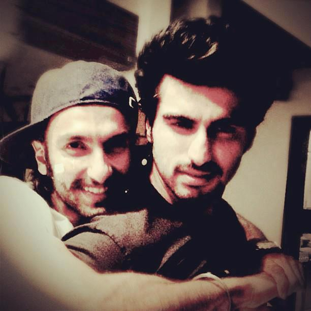Ranveer And Arjun Smiling Pose For Camera On The Sets Of Film Gunday