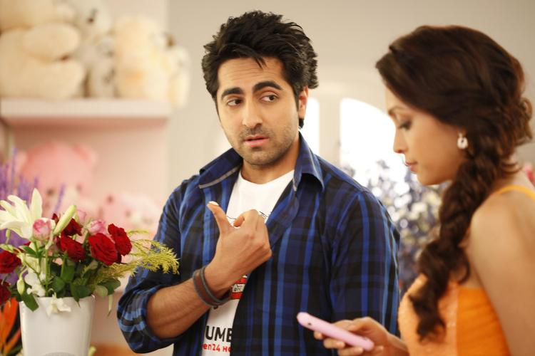 Ayushmann And Pooja Conversation Photo Still From Movie Nautanki Saala