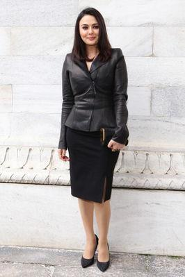 Preity Looks Pretty In A Black Short Suit At The Roberto Cavalli Fashion Show