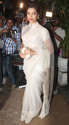 Deepika Looked Gorgeous In Anamika Khanna Saree At Sanjay Leela Bhansali Birthday Bash