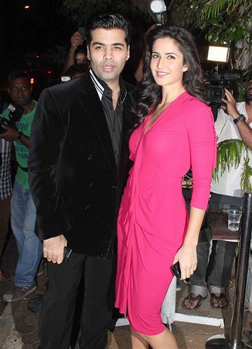Karan With Katrina Strike A Pose For Shutterbugs At Sanjay Leela Bhansali Birthday Bash