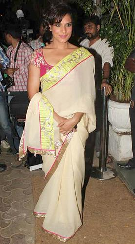 Richa Photo Clicked In Saree At Sanjay Leela Bhansali Birthday Bash
