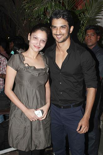 Sushant With Girlfriend Ankita Pose For Camera At Sanjay Leela Bhansali Birthday Bash