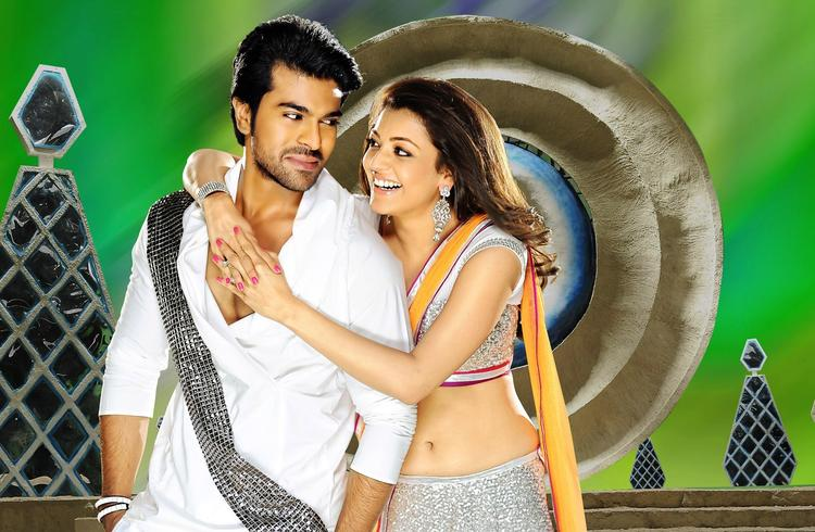 Ram Charan And Kajal Cosy Smiling Photo Still From Movie Naayak