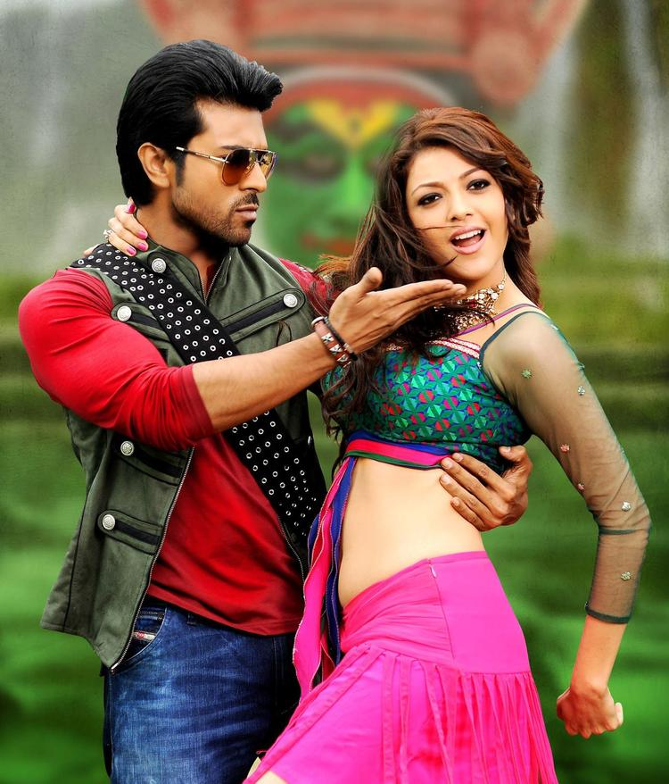 Ram Charan And Kajal Cute Expression Photo Still From Movie Naayak