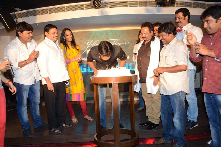 Nani Blows Off The Candle And Anjana,Ramesh Looks On At Actor Nani Birthday Bash