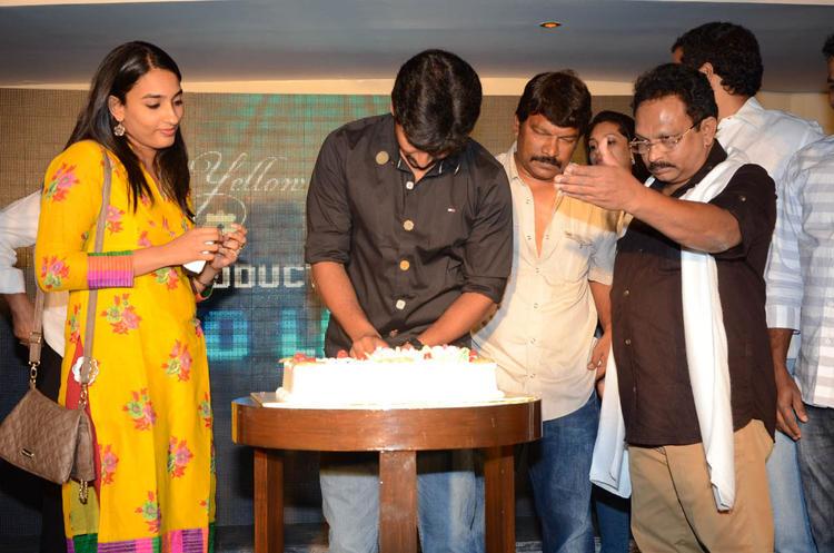 Nani Cuts Cake And Anjana,Ramesh Looks On Actor Nani Birthday Party At Paisa Movie Logo Launch Function