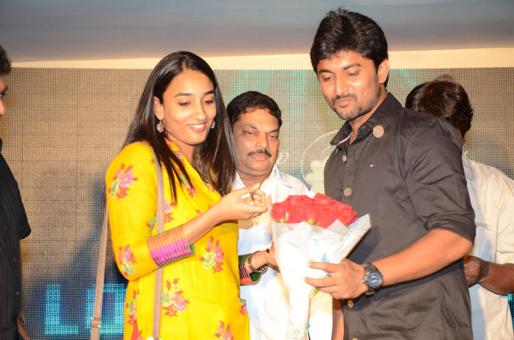 Nani With His Wife Anjana Cool Smiling Still On Actor Nani Birthday Party At Paisa Movie Logo Launch Function