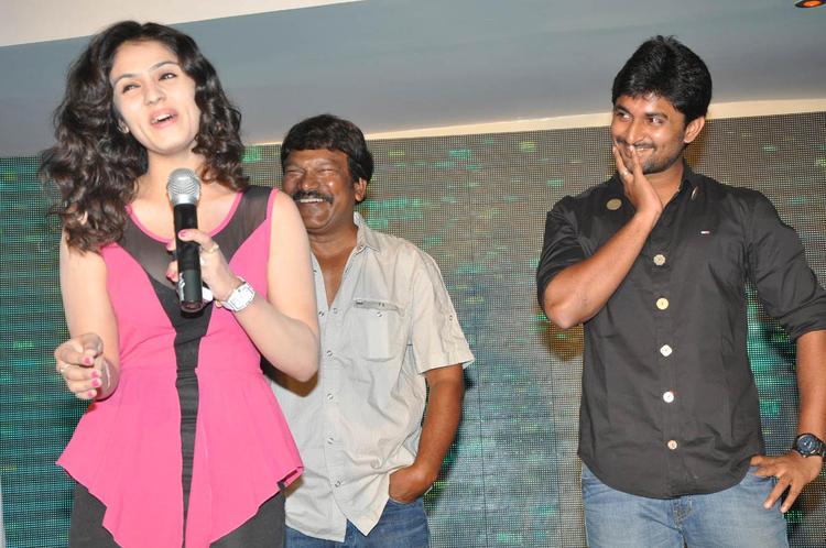 Lucky Speaking Still And Nani,Krishna Vamsi Smiling Look At Paisa Movie Logo Launch Function
