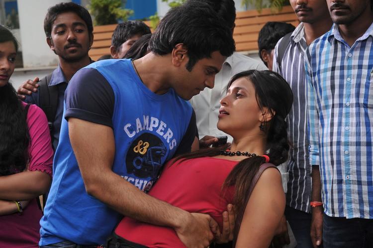 Sreeram And Barbie Romance Photo Still From Movie Prema Geema Jantha Nai