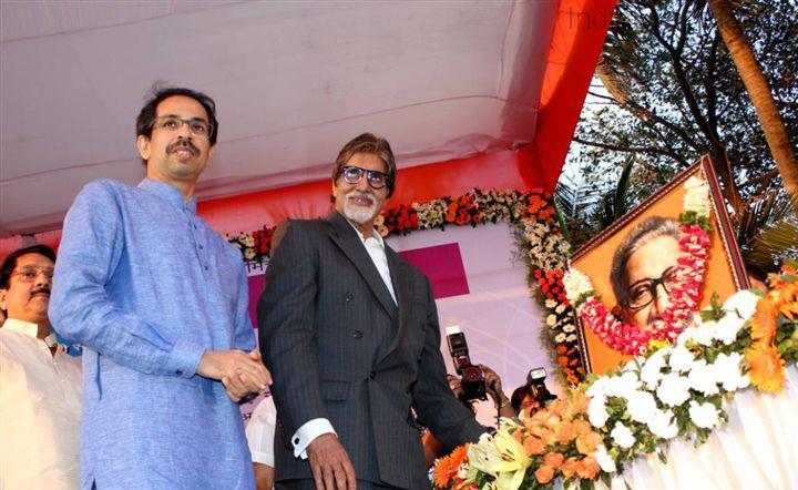 Amitabh And Uddhav Offer Flowers To Late Bal Thackeray At Clean Mumbai Campaign 2013