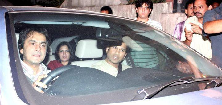Sachin Tendulkar In Car At The Special Screening Of Balak Palak