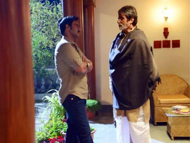 Amitabh And Ajay Conversation Photo Still From Movie Satyagraha
