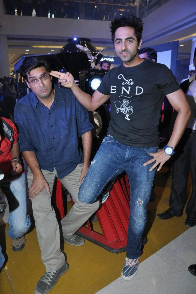 Kunal And Ayushmann Make A Different Pose At Nautanki Saala Audio Launch