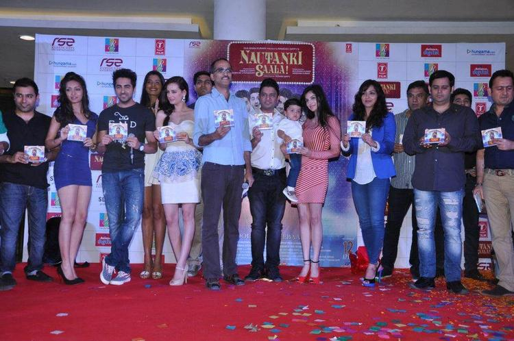 Pooja,Ayushmann,Evelyn,Rohan And Bhusan With CDs Posed At Nautanki Saala Audio Launch