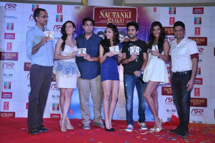 Rohan,Evelyn,Kunal,Pooja,Ayushmann,Gaelyn And Bhusan Snapped At Nautanki Saala Audio Launch
