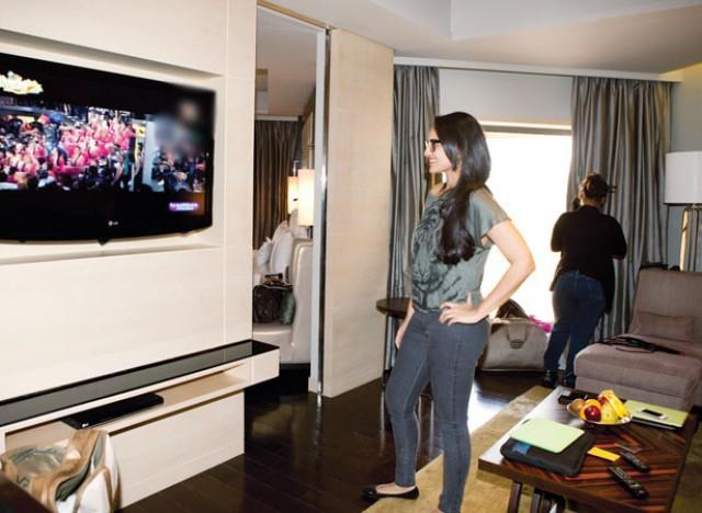 Sonakshi Sinha Watching TV On The Sets Of Filmfare