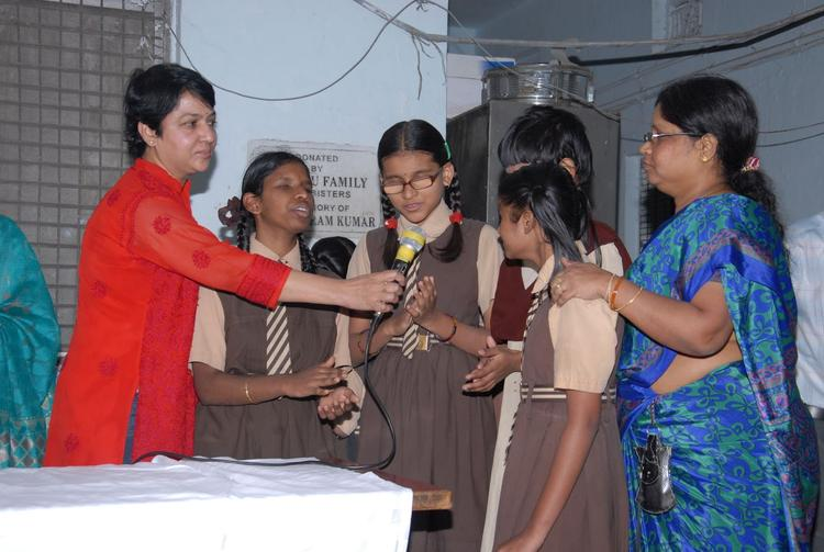 B.Jaya Cool With Blind Girls At Devnar Foundation Blind School