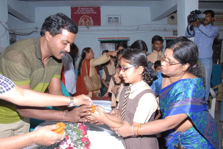 Sunil Varma Give Gifts To A Blind Girl On His Birthday At Devnar Foundation Blind School
