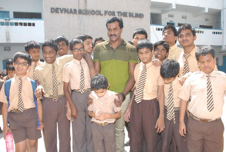 Sunil Varma Posed With Children On His Birthday Celebrations At Devnar Foundation Blind School