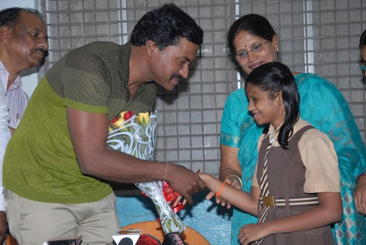 Sunil Varma Shakes His Hands With A Blind Girl On His Birthday Celebrations At Devnar Foundation Blind School