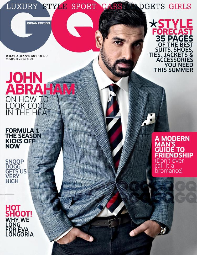 John Abraham Beard Look On The Cover Of GQ India March 2013 Edition
