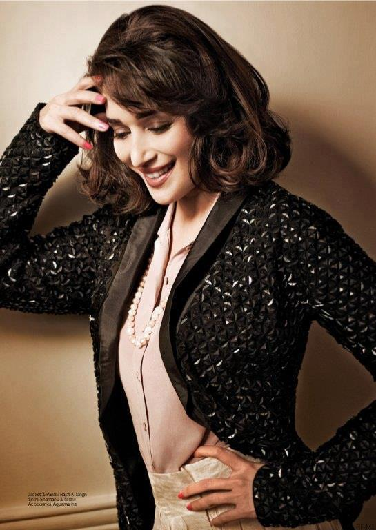 Madhuri Dixit Cute Smiling Photo Shoot For Filmfare March 2013