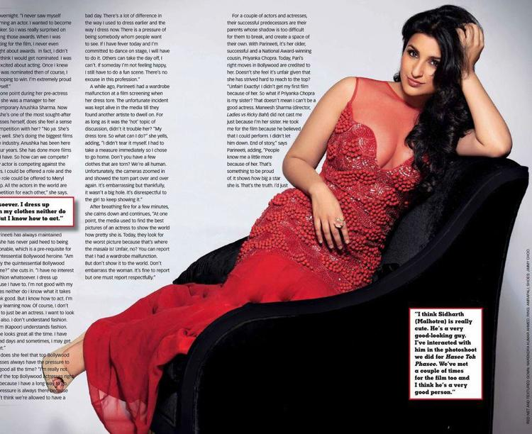 Parineeti Chopra In Red Dress Sexy Look Photo Shoot For Stardust March 2013 Issue