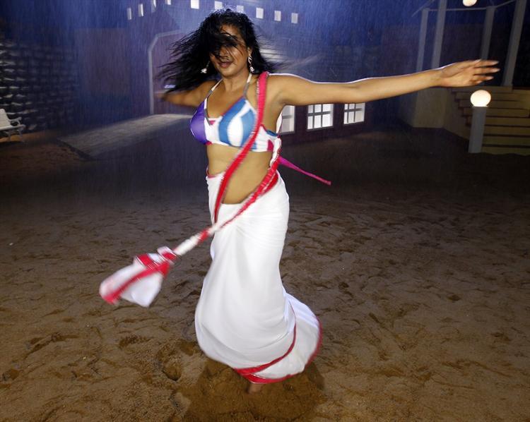Priyamani In White Saree Sexy Look From Tikka Movie