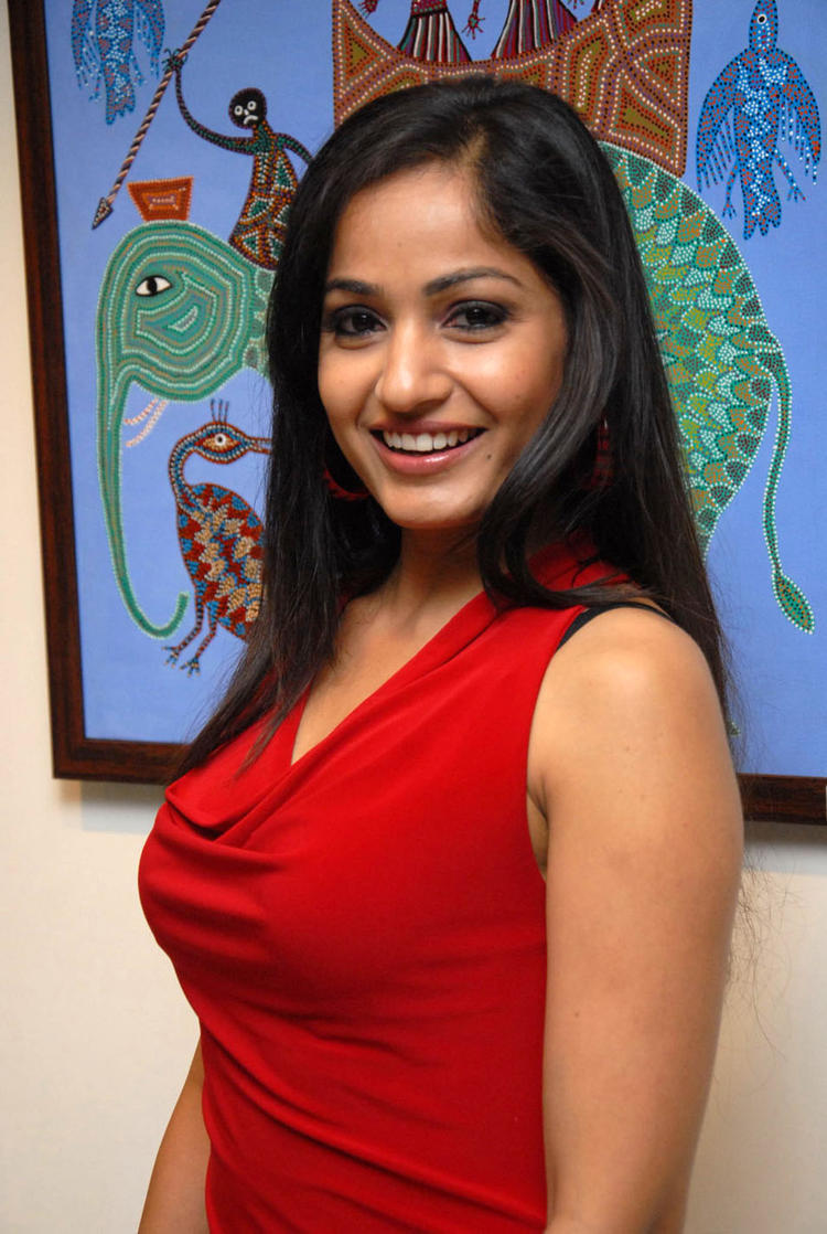 Madhavi Gorgeous Look In A Red Top At Tribal Beauty Art Exhibition