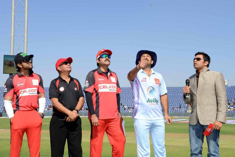 Manoj,Venkatesh And Ram Dduring The Toss At CCL 3 Telugu Warriors VS Bhojpuri Dabanggs Match
