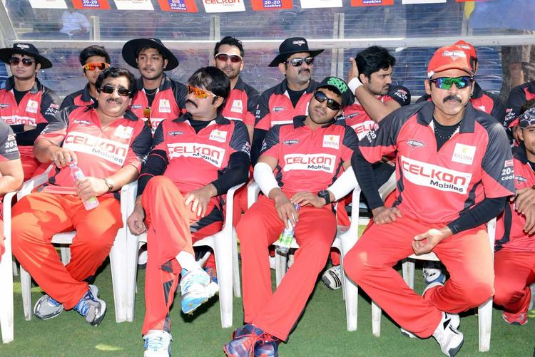 Srikanth,Ram And Others At CCL 3 Telugu Warriors VS Bhojpuri Dabanggs Match