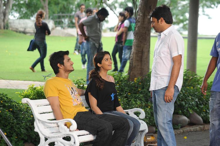 Nikhil Siddharth And Swati Reddy Cool Pose On The Sets Of Swamy Ra Ra Movie
