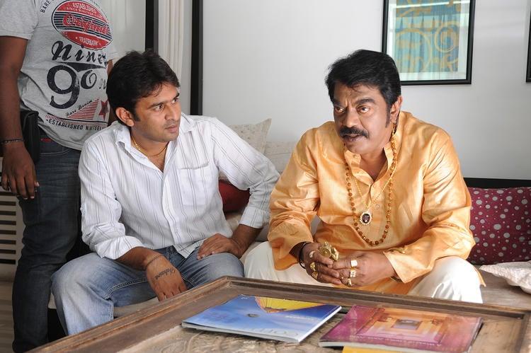 Sudhir Verma Chatting Still On The Sets Of Swamy Ra Ra Movie
