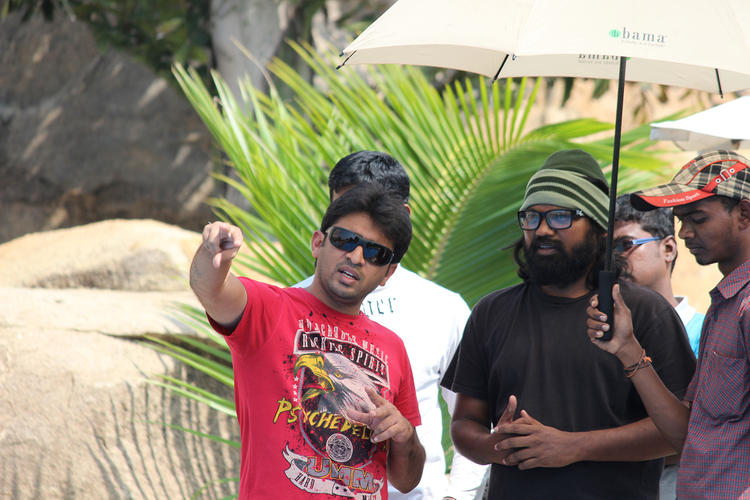 Sudhir Verma Discussion Still On The Sets Of Swamy Ra Ra Movie