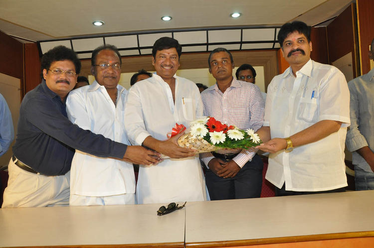 Rajendra With Guests Posed For Camera At Dream Telugu Movie Press Meet