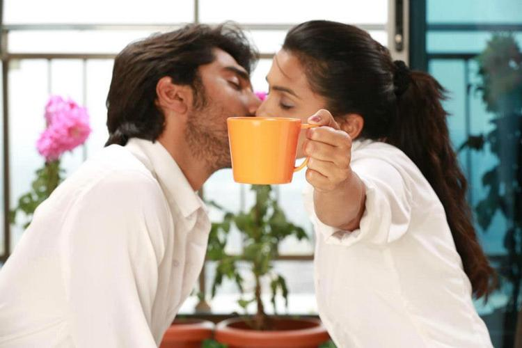 Anish And Sindhu Hot Kissing Photo Still From Movie Cofee With My Wife