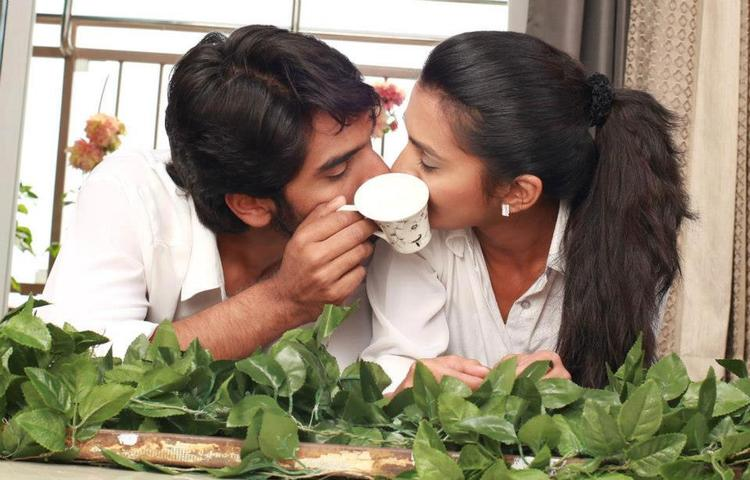 Anish And Sindhu Kissing Photo Still From Movie Cofee With My Wife