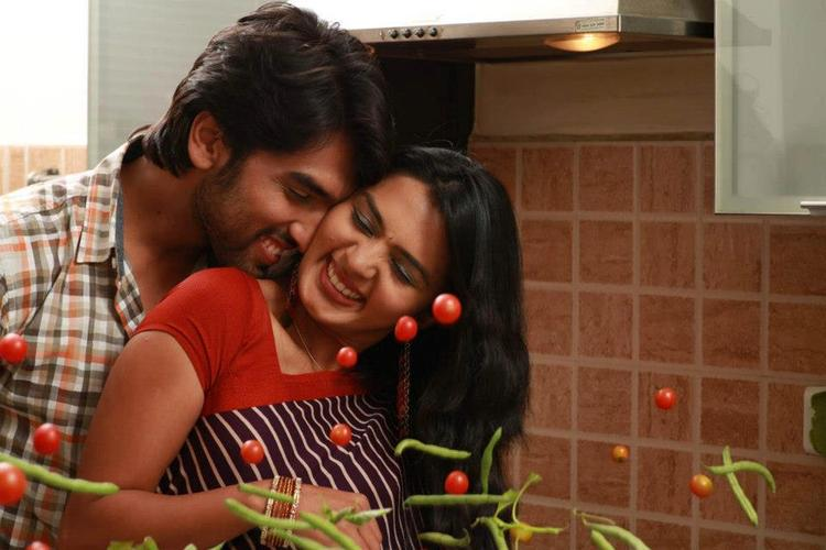 Anish And Sindhu Romance Photo Still From Movie Cofee With My Wife