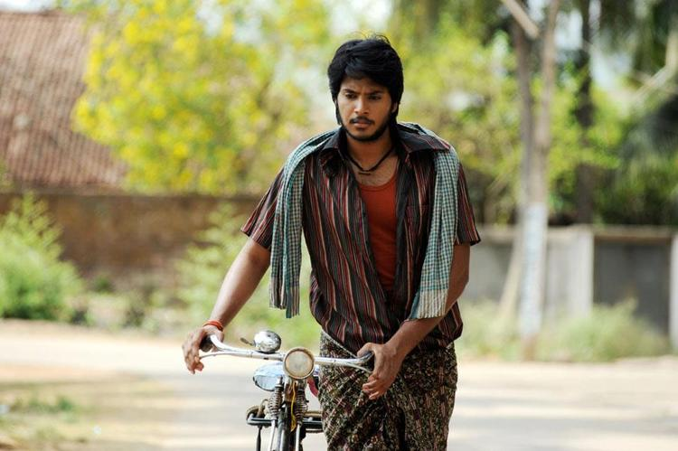 Sundeep With Cycle Photo Stills From Movie Gundello Godari