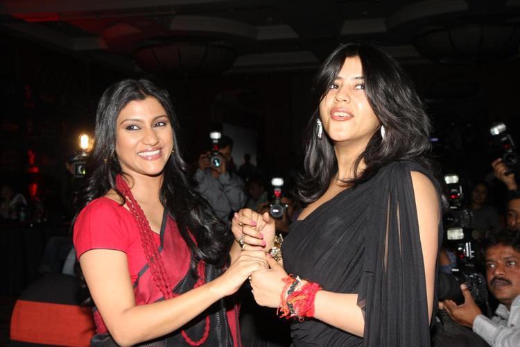Konkona Sen And Ekta Smiling Photo Clicked At The Launch Of Life OK Serial Ek Thi Naayka