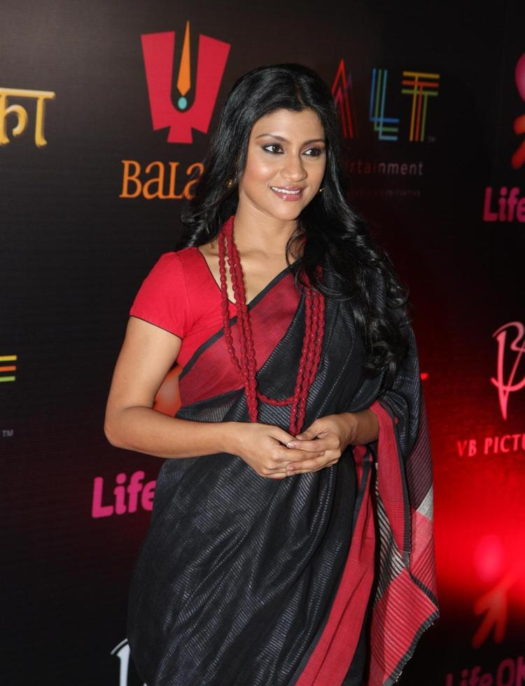 Konkona Sen Spotted In A Black Saree At The Launch Of Life OK Serial Ek Thi Naayka