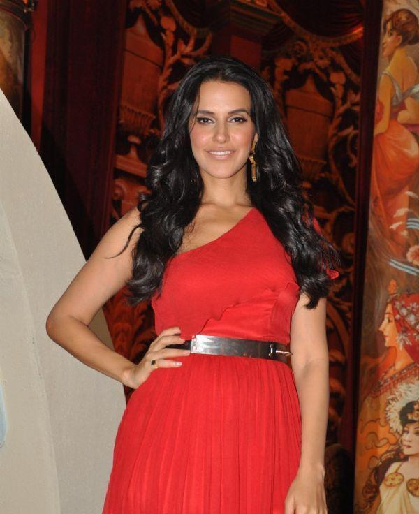 Neha Dhupia Glamour Look In Red Dress At Nautanki The Comedy Theatre Show Launch Event
