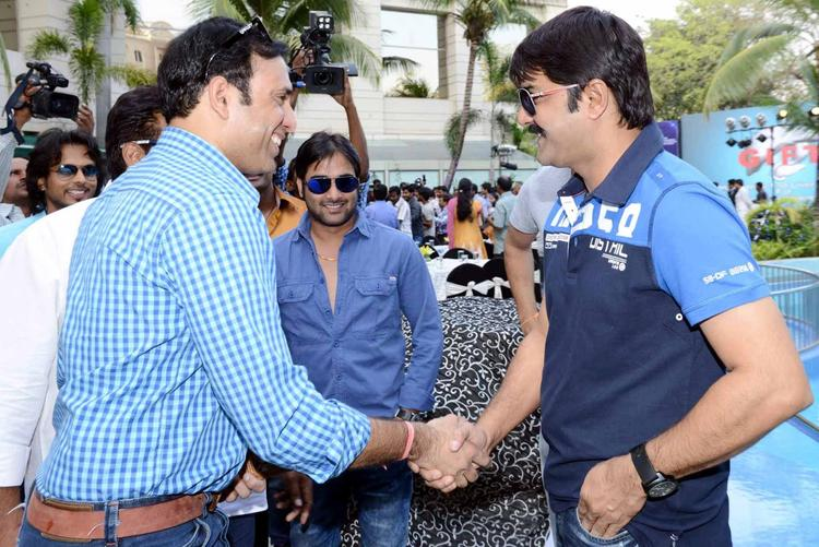 Laxman Shake Hand With Srikanth And Tarun Photo Clicked At ITC Kakatiya