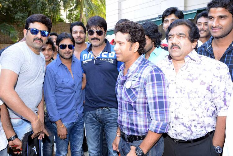 Sachin Snapped With Tarun,Srikanth,Harshvardhan And Chamundeswaranath At ITC Kakatiya